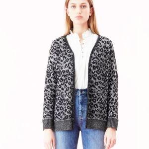 Rebecca Taylor La Vie Leopard Button Cardigan L
